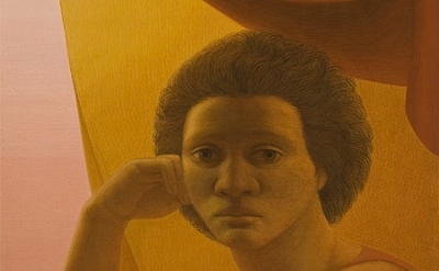 (detail) George Tooker, Girl in the Window, c. 1978, egg tempera on gesso panel
