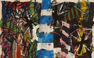(detail) Michael Goldberg, Nativita, 1990 oil, oil pastel and chalk on canvas wi