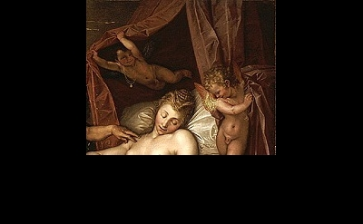 (detail) Hendrik Goltzius, The Sleeping Danae Being Prepared to Receive Jupiter,