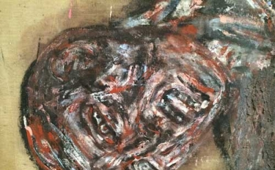 (detail) Leon Golub, Napalm I, 1969, acrylic on linen, 117 1/4 x 213 inches (pho