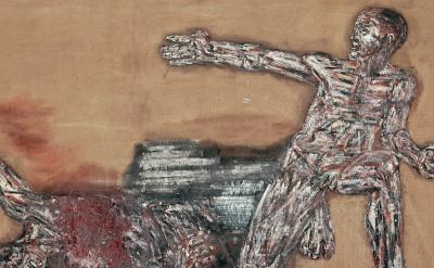 (detail) Leon Golub, Napalm I, 1969, acrylic on linen, 117 1/4 x 213 inches (cou