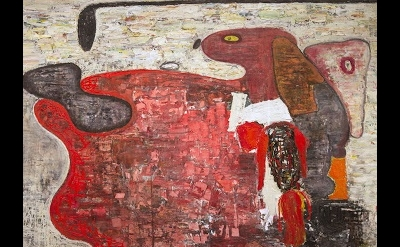 (detail) Brenda Goodman, Wild Thing-You Make My Heart Sing, 50 x72 inches, oil o