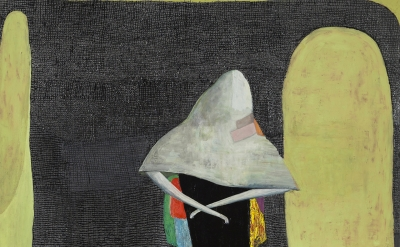 (detail) a Goodman, Almost a Bride, 2015, oil on wood, 80 x 72 inches (courtesy