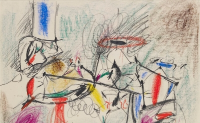 Arshile Gorky, Untitled, 1944–1945, pencil and crayon on paper, 17 1/2 x 23 1/4 inches (photo: Christopher Burke Studio, courtesy of Hauser & Wirth)