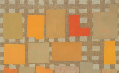 (detail) Elizabeth Gourlay, naranja note, 2015, flashe on linen over panel, 12 x