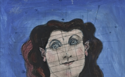 John D. Graham, Head of a Woman, 1954, oil, chalk, ballpoint pen, colored pencil, pencil, brush, pen, and ink on tracing paper, 24 1/4 x 18 7/8 inches (Collection of Leonard and Louise Riggio, New York. Photo by John Labbe)