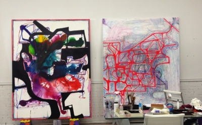 Joanne Greenbaum Studio View, 2012 (courtesy of the artist)