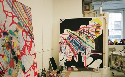 View of Joanne Greenbaum's studio (photo: Fargo Ashland for Nothing Major)