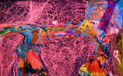 (detail) Joanne Greenbaum, Untitled, 2014, oil, ink, acrylic, and flashe marker