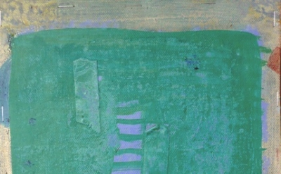 (detail) Terry Greene, Untitled (P1100579), 2011, Acrylic, tape & staples on can