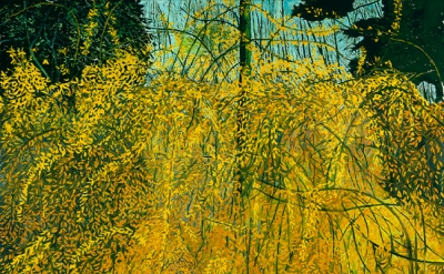 Margaret Grimes, Forsythia II, 2003, Oil on linen, 54 x 72 inches (courtesy of t