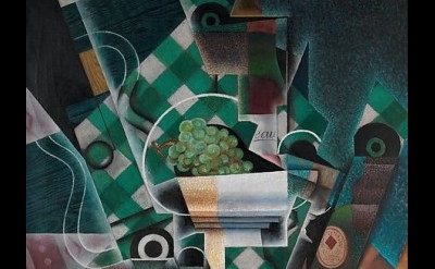 (detail) Juan Gris, Still Life with Checkered Tablecloth, 2015, oil and graphite