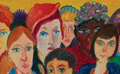 (detail) Mimi Gross: Elevator Ladies, 1965, oil and crayon on paper, 9 7/8 x 19 7/8 inches (courtesy of the artist)