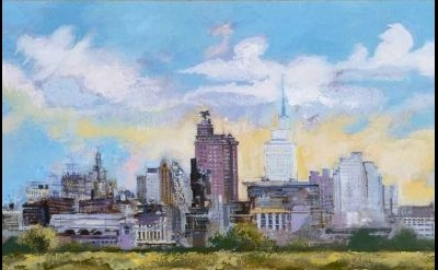 George Grosz, Dallas Skyline, 1952, German, oil on canvas, 19 1/2 x 29 1/2 inche