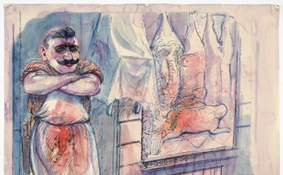George Grosz, Fleisher (Butcher), 1928, watercolor, reed pen, pen and ink on pap
