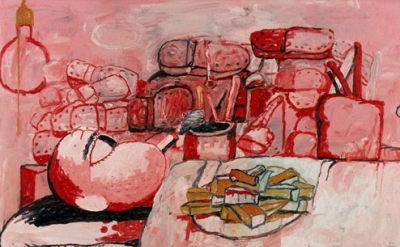 (detail) Philip Guston, Painting, Smoking, Eating, 1973, oil on canvas, 77.5 x 1