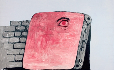 (detail) Philip Guston, The Canvas, 1973, oil on canvas 67 x 79 inches (courtesy