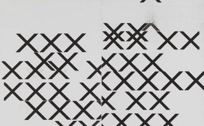 (detail) Wade Guyton, Untitled, 2006, Epson UltraChrome inkjet on linen, 85 1/4
