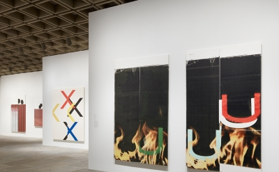 Installation view of Wade Guyton OS (photograph by Ron Amstutz, courtesy of the