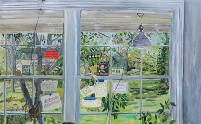 Mary Addison Hackett, Studio Window, 2014, oil on canvas, 66 by 54 inches (court