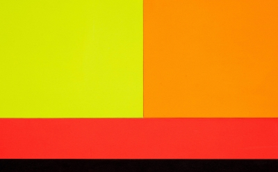 (detail) Peter Halley, Three Sectors, 1986, acrylic, fluorescent acrylic on canvas, 58 1/4 x 192 1/8 inches (courtesy of Modern Art, London)