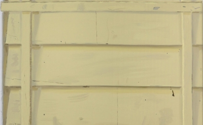 Josephine Halvorson, Yellow Clapboard, 2013, oil on linen, 17 x 21 inches (court