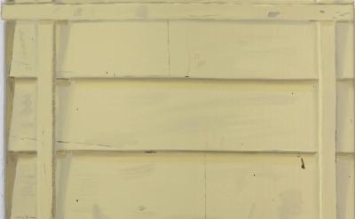 Josephine Halvorson, Yellow Clapboard, 2013, oil on linen, 17 x 21 inches (court