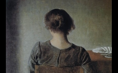 (detail) Vilhelm Hammershøi, Resting, 1905, oil on canvas, 19 1/2 x 18 1/4 inche