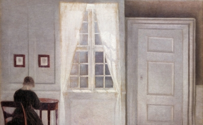 (detail) Vilhelm Hammershøi, Interior in Strandgade, Sunlight on the Floor, 1901