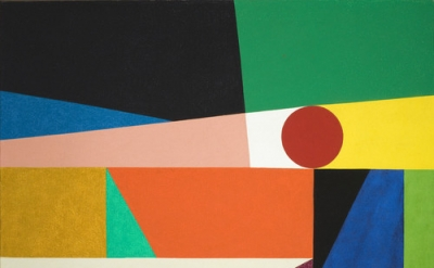 Frederick Hammersley, Around a round, 1959, oil on canvas, 73.03 x 93.98 x 4.45