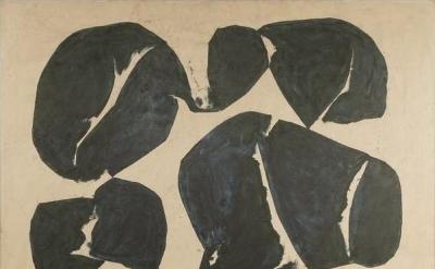 (detail) Simon Hantai, Meun, 1968, oil on canvas, 96 7/8 x 87 inches (courtesy o