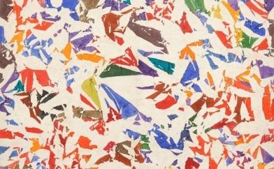 (detail) Simon Hantaï, Blancs, 1973-1974, acrylic on canvas, 78 x 84 5/8 inches