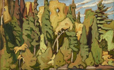 Lawren Harris, Sand Lake - Algoma, oil on panel, 10.5 x 13.25 inches (courtesy L