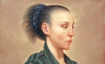 (detail) Anne Harris, Self-portrait (Paul's Shirt), 1993, 20 × 20 inches (court