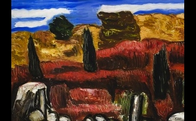 (detail) Marsden Hartley, Dogtown, c.1934 (collection of Frederick R. Weisman Ar