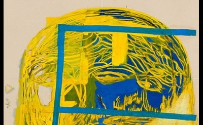 (detail) EJ Hauser, FR (yellow), 2014, mixed media on canvas, 24 x 20 inches (co