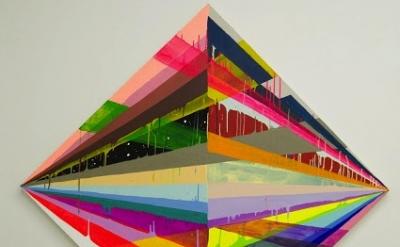 (detail) Maya Hayuk, Bonfire (X), acrylic on canvas over panel, 68 x 68 inches,