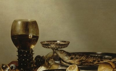 (detail) Willem Heda, Still Life with a Roemer and Watch, 1629 (courtesy of the