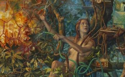 (detail) Julie Heffernan, Self-Portrait as Catastrophic Failure, 2013, oil on ca