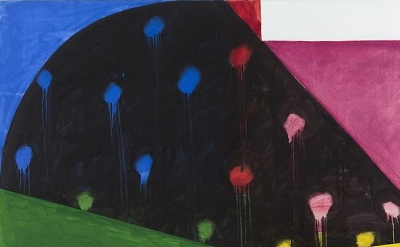 (detail) Mary Heilmann, Rio Nido, 1987, acrylic and oil on canvas, 39 x 58 inche
