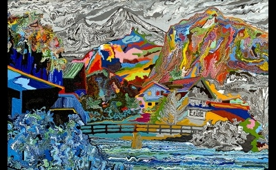 (detail) Cham Hendon, Mountain Chalet, 2003, acrylic and rhoplex on canvas, 42 x