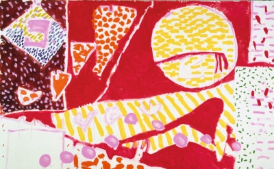 (detail) Patrick Heron, Red Garden Painting, June 3 – June 5 1985, oil paint on canvas (© Estate of Patrick Heron. All Rights Reserved, DACS 2018)