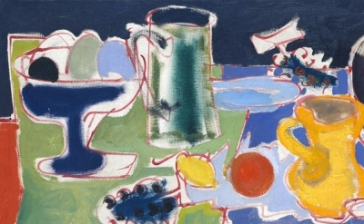 (detail) Patrick Heron, Long Table with Fruit, 1949 (©Estate of Patrick Heron/DA