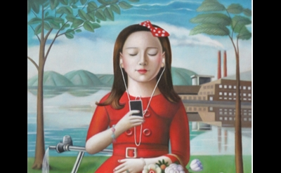 (detail) Amy Hill, Girl with Skooter, 2016, oil on canvas, 36 x 24 inches (court