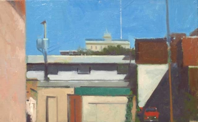 Frank Hobbs, Cylinders and Cubes – South Columbus, oil on canvas, 20 x 16 inches