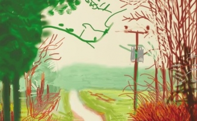(detail) David Hockney. The Arrival of Spring in Woldgate, East Yorkshire in 201