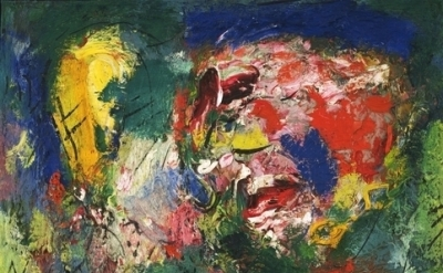 Hans Hofmann, Flowering Desert, 1953, oil on canvas, 23 3/4 x 27 inches (Clenden