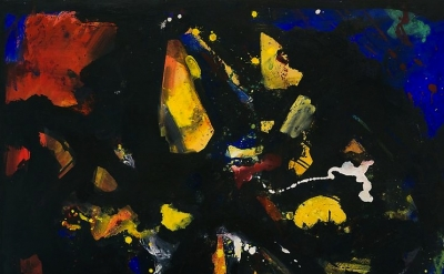 (detail) Hans Hofmann, Shapes in Black, 1944, Oil on panel, 30 1/2 x 41 inches (