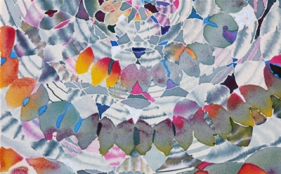 (detail) Hadley Holliday, Untitled, 2013, acrylic and silver leaf on canvas, 20