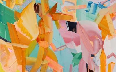 Andrew Holmquist, Locker Room, 2015, oil, acrylic, spray enamel on canvas, 72 x